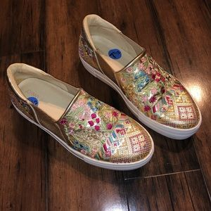 Johnny Was Gold Vinny Morraco Loafer Flats